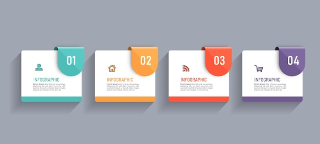 Minimal business infographics template with four steps
