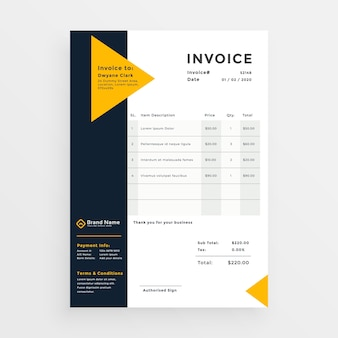 Minimal business invoice template design