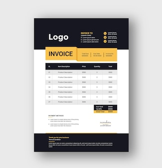 Minimal business invoice template design