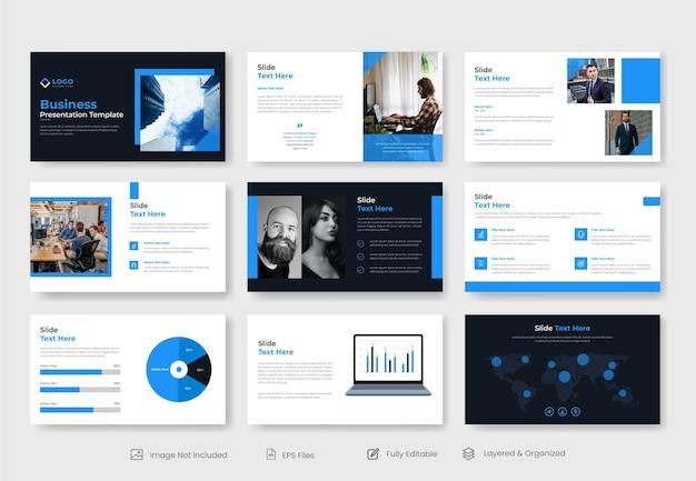 Минимальный бизнес-шаблон слайд-презентации powerpoint Premium векторы
