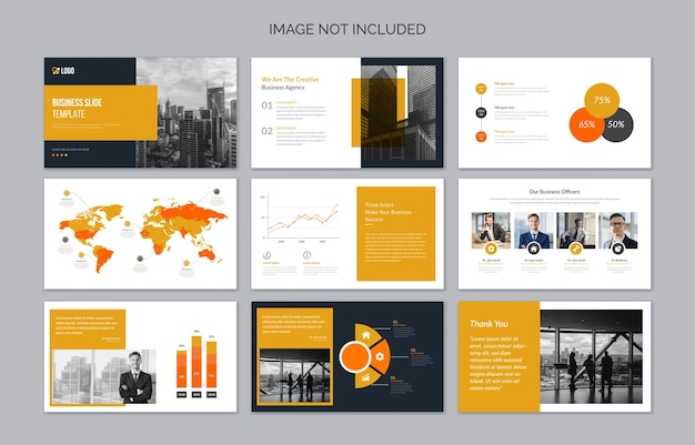 Minimal business presentation slides with infographic elements
