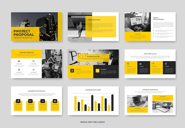 Minimal business project proposal presentation slide template or company pwoerpoint template
