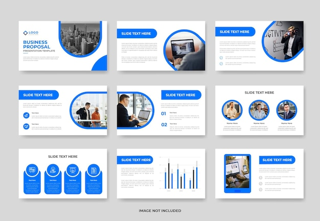 Minimal business project proposal presentation slide template or corporate pwoerpoint template
