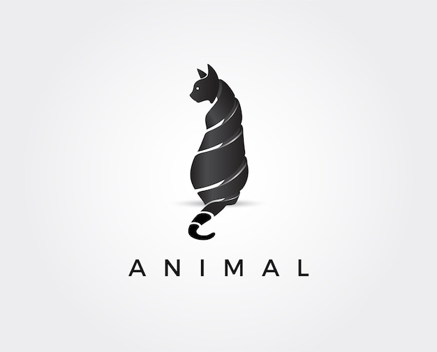 Minimal cat logo template  illustration