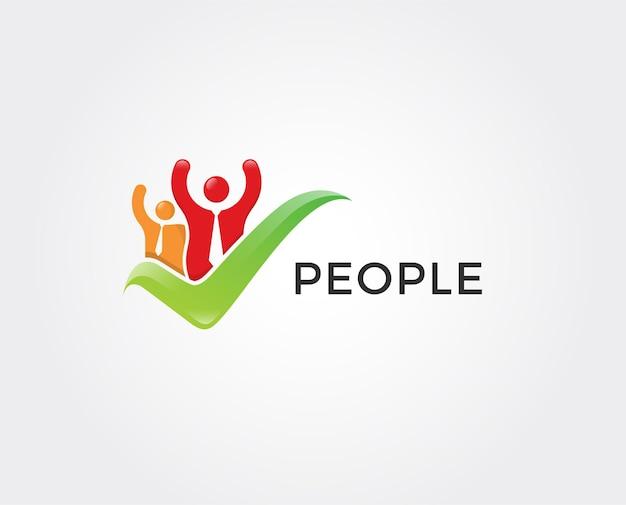 Minimal check people logo template
