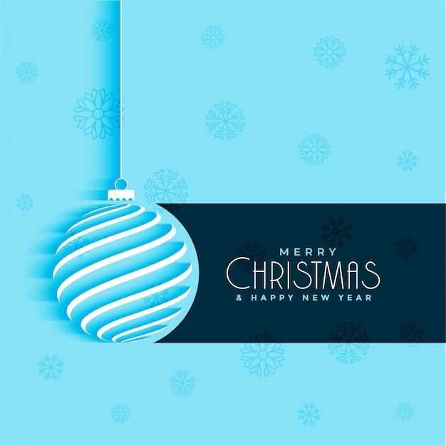 最小限のクリスマスボールのデザインの青色の背景