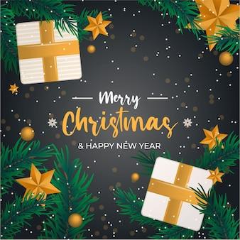 Минимальный рождественский золотой фон подарок и звезды желтые
