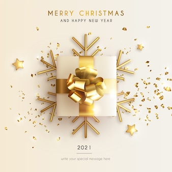 Minimal christmas and new year greeting card with realistic present and stars