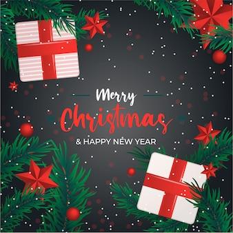 Минимальный рождественский красный фон подарок и звезды