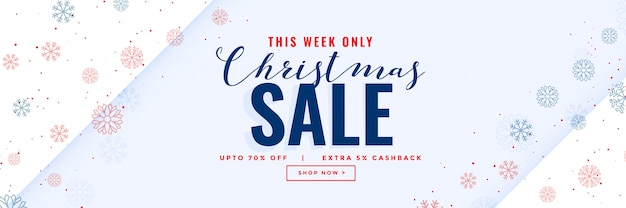 Minimal christmas sale modern banner with snowflakes