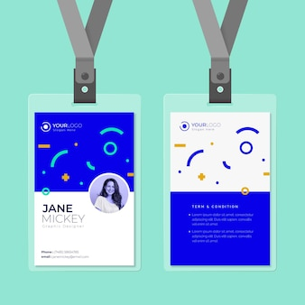 Minimal circles and lines front and back id card template