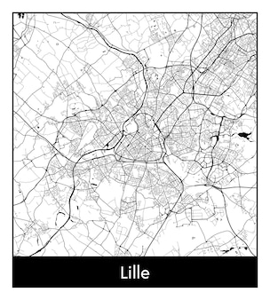 Minimal city map of lille (france, europe)