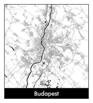 ブダペストの最小限の都市地図(ハンガリー、ヨーロッパ)