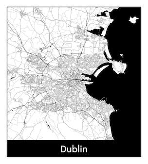 Минимальная карта города дублина (ирландия, европа)