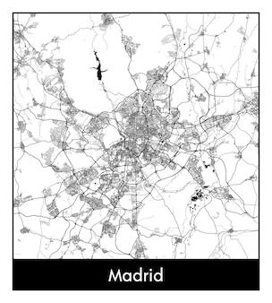 마드리드의 최소 도시 지도(스페인, 유럽)