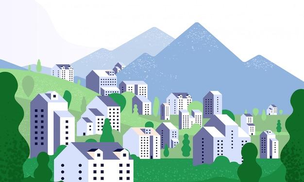 최소한의 도시 풍경. 현대적인 건물과 자연 풍경입니다. 여름 환경에서 도시 거리입니다. 미니멀리즘 스타일의 배경