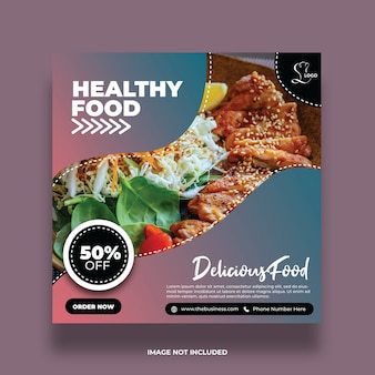 Minimal clean delicious restaurant food social media post colorful abstract template