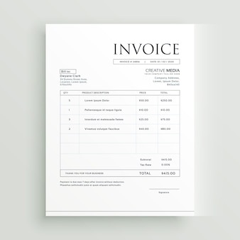 Minimal clean invoice form template design vector