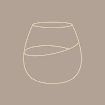 最小限のカクテルグラスグラフィックラインアートスタイル