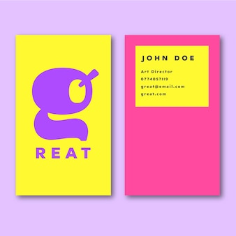 Minimal colorful business card template