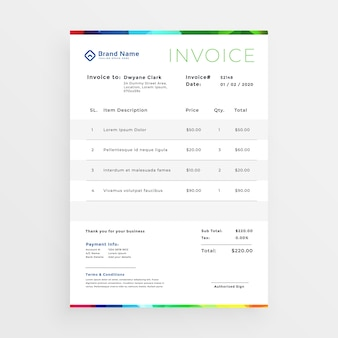 Minimal colorful business invoice template