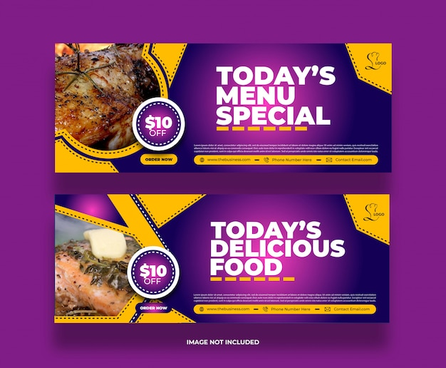 Minimal colorful restaurant food yummy banner for social media post