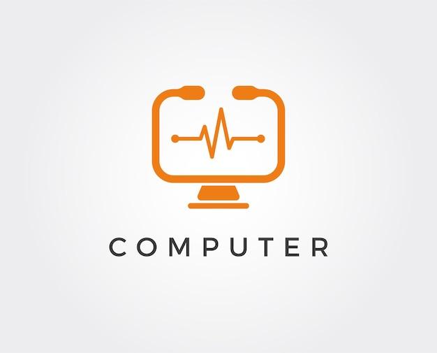 最小限のコンピューターのロゴテンプレート