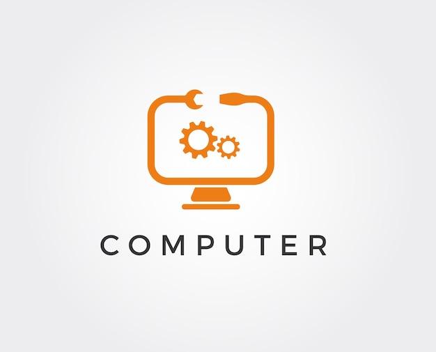 최소한의 컴퓨터 수리 로고 템플릿
