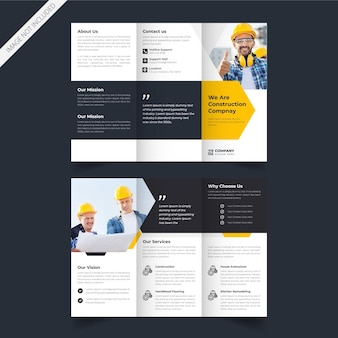 Minimal construction service trifold brochure design in vector