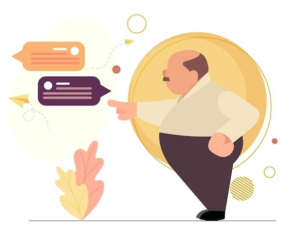 기업 스타일의 최소한의 기업 캐릭터 일러스트레이션 만화 캐릭터.