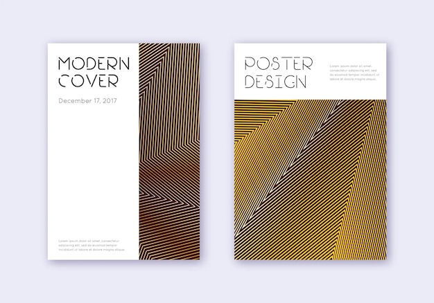 最小限のカバーデザインテンプレートセット。あずき色の背景にゴールドの抽象的な線。かわいいカバーデザイン。想像力豊かなカタログ、ポスター、本のテンプレートなど。