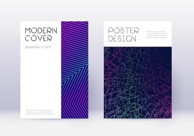 最小限のカバーデザインテンプレートセット。紺色の背景にネオンの抽象的な線。まばゆいばかりのカバーデザイン。素晴らしいカタログ、ポスター、本のテンプレートなど。
