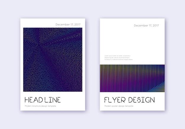최소한의 표지 디자인 템플릿 집합입니다. 진한 파란색 배경에 무지개 추상 라인입니다. 신성한 표지 디자인. 완벽한 카탈로그, 포스터, 책 템플릿 등