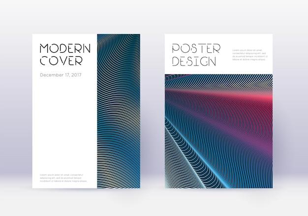最小限のカバーデザインテンプレートセット。白青の背景に赤の抽象的な線。まともなカバーデザイン。理想的なカタログ、ポスター、本のテンプレートなど。
