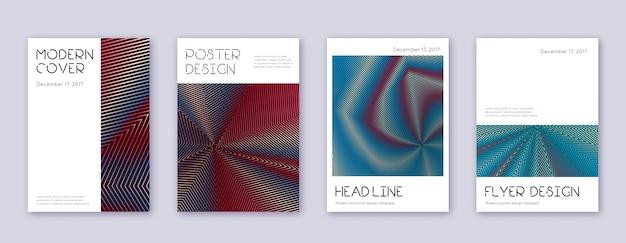 Минимальный набор шаблонов дизайна обложки. красные абстрактные линии