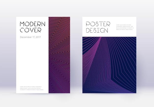 最小限のカバーデザインテンプレートセット。暗い背景に紫の抽象的な線。繊細なカバーデザイン。上品なカタログ、ポスター、本のテンプレートなど。
