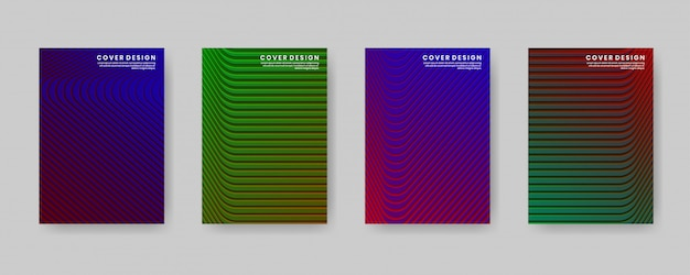 Minimal cover design template set with gradient and geometric abstract style