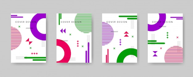Minimal cover design template set with memphis style