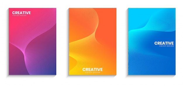 Minimal cover design template with wavy lines and gradient background set
