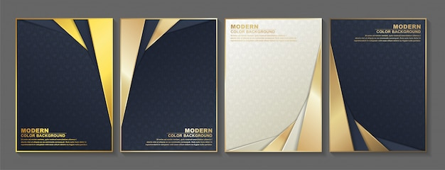 Minimal cover in gold. vector geometric abstract design. Premium Vector