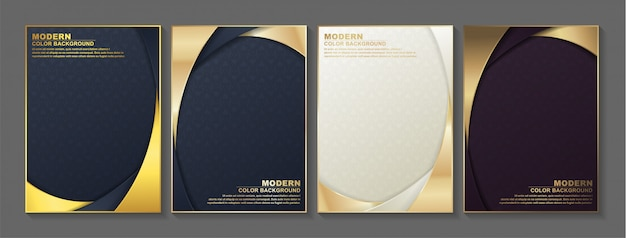 ゴールドのミニマルカバー。ベクトルの幾何学的な抽象的なデザイン。