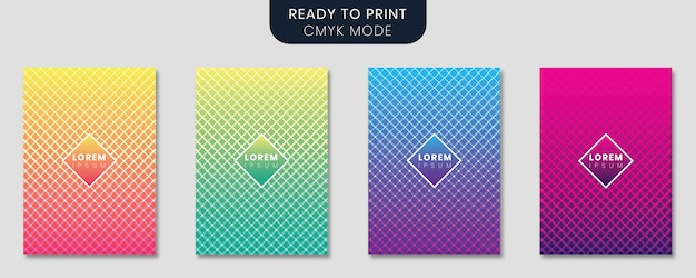 Minimal cover template set with gradient design and geometric lines
