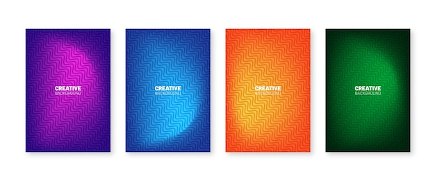 Minimal covers collection. colorful halftone gradients. future geometric patterns design.