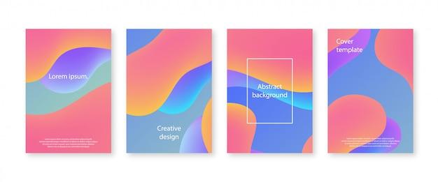 Минимальная коллекция дизайнов обложек. модный годовой отчет с жидкими формами