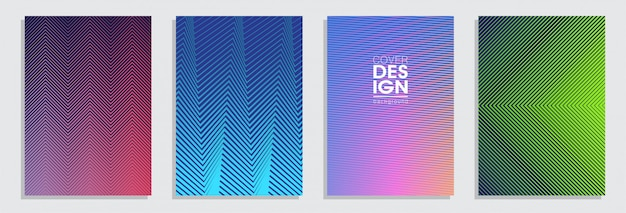 Minimal covers design. colorful halftone gradients background set