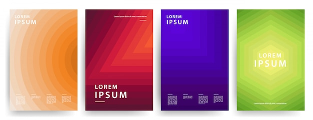 Minimal covers design. cool geometric gradients. set vector.