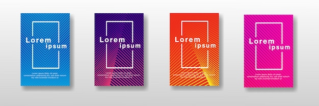 Minimal covers design set. colorful halftone gradients