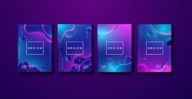 Минимальный дизайн обложки волнистая жидкость градиентной формы композиции