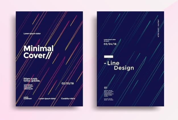 Минималистичный дизайн обложек с простой цветной линией. векторная графика