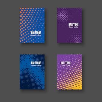 Minimal covers . geometric patterns set. minimalistic identity template. colorful halftone gradients.  illustration